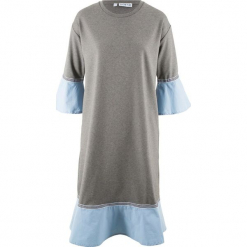 Sukienka Punto di Roma, rękawy 3/4, z kolekcji Maite Kelly bonprix jasnoszary melanż- perłowy niebieski. Niebieskie sukienki z falbanami marki bonprix, z nadrukiem. Za 79,99 zł.