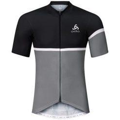 Odlo Koszulka męska Stand-up collar s/s full zip KAMIKAZE szaro-czarna r. L (411162/60061). Czarne t-shirty męskie Odlo, l. Za 243,73 zł.