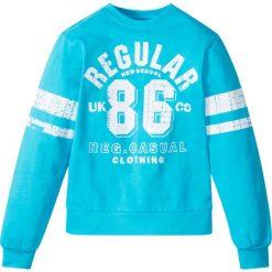 """Bluza z nadrukiem w stylu """"college"""" bonprix błękit laguny z nadrukiem. Niebieskie bluzy dziewczęce rozpinane marki DOMYOS. Za 37,99 zł."""