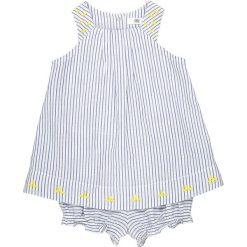 Komplecik niemowlęcy sukienka + spodenki w paski 0 miesięcy - 3 latka. Niebieskie spodenki dziewczęce marki La Redoute Collections, z haftami, z bawełny. Za 102,86 zł.