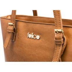SKÓRZANA SHOPPERKA  GOLD LUNA JASNY BRĄZ. Białe torby na laptopa marki FeliceGold, w paski, z bawełny, do ręki. Za 399,00 zł.