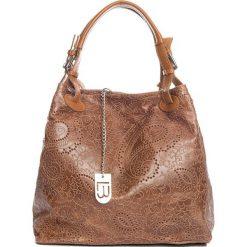 Torebki klasyczne damskie: Skórzana torebka w kolorze jasnobrązowym – 37 x 45 x 15 cm