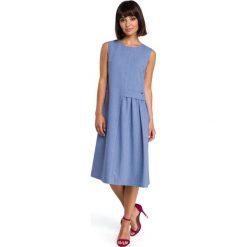 AGNES Zwiewna sukienka midi bez rękawów - niebieska. Niebieskie sukienki hiszpanki BE, l, z tkaniny, bez rękawów, midi, oversize. Za 129,00 zł.