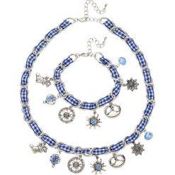 Łańcuszki damskie: Łańcuszek + bransoletka na święto piwa bonprix srebrny kolor- niebieski
