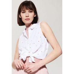 Koszule wiązane damskie: Wzorzysta koszula – Różowy