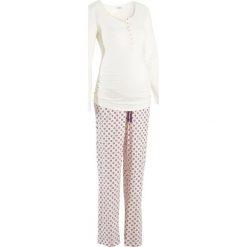 Piżama dla karmiących bonprix ecru z nadrukiem. Białe bielizna ciążowa bonprix, z nadrukiem, moda ciążowa. Za 79,99 zł.