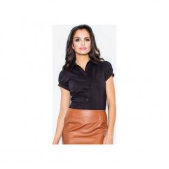 Koszula M026 Czarny. Szare koszule damskie marki FIGL, m, z bawełny, eleganckie, z asymetrycznym kołnierzem, z długim rękawem. Za 73,00 zł.