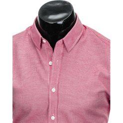 KOSZULA MĘSKA Z DŁUGIM RĘKAWEM K408 - BIAŁA/CZERWONA. Brązowe koszule męskie marki Ombre Clothing, m, z aplikacjami, z kontrastowym kołnierzykiem, z długim rękawem. Za 59,00 zł.