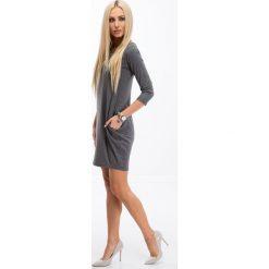 Sukienki: Ciemnoszara Minimalistyczna Sukienka 9988