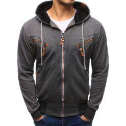 Bluzy męskie: Bluza męska rozpinana z kapturem szara (bx1961)