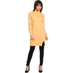 Żółta Bluzo-Tunika z Golfem. Żółte tuniki damskie eleganckie Molly.pl, l, z bawełny, z golfem, z długim rękawem. Za 139,90 zł.