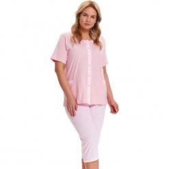 Piżama w kolorze jasnoróżowo-białym - koszula, spodnie. Białe piżamy damskie Doctor Nap, l, w paski. W wyprzedaży za 79,95 zł.