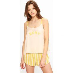 Dkny - Piżama. Szare piżamy damskie marki DKNY, l, z nadrukiem, z materiału. W wyprzedaży za 239,90 zł.