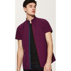 Koszule męskie na spinki: Kraciasta koszula z krótkim rękawem – Czerwony