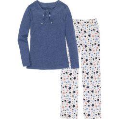 Piżama bonprix niebieski melanż - biel wełny z nadrukiem. Niebieskie piżamy damskie bonprix, melanż, z bawełny. Za 79,99 zł.
