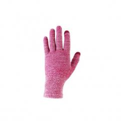 Rękawiczki trekkingowe wewnętrzne Trek 500. Czerwone rękawiczki damskie FORCLAZ, z elastanu. Za 19,99 zł.