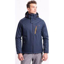 Kurtka narciarska męska KUMN253Z - granatowy melanż - 4F. Niebieskie kurtki narciarskie męskie marki 4f, na jesień, m, melanż, z materiału, z kapturem. Za 229,99 zł.