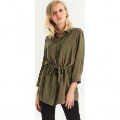 Koszula z wiązaniem w talii - Khaki. Brązowe koszule damskie Sinsay, l. Za 59,99 zł.