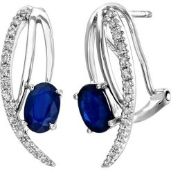 Kolczyki damskie: Złote kolczyki-wkrętki z diamentami i szafirami