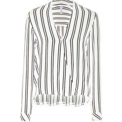 Bluzka z założeniem kopertowym bonprix biało-czarny w paski. Czarne bluzki wizytowe marki bonprix, eleganckie. Za 79,99 zł.