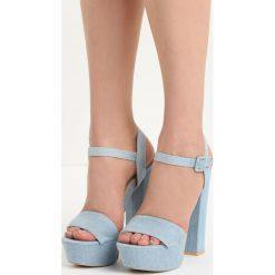 Niebieskie Sandały Independent. Niebieskie sandały damskie na słupku marki Born2be, w paski, z denimu, na wysokim obcasie. Za 69,99 zł.