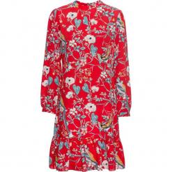 Sukienka z falbanami bonprix czerwony z nadrukiem. Czerwone sukienki na komunię bonprix, z nadrukiem, ze stójką. Za 129,99 zł.