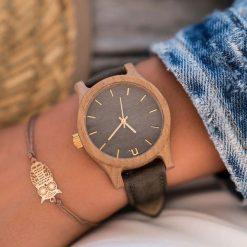 Zegarek Neat Zegarek damski wiąz drewniany szaro-złoty 38mm. Szare zegarki damskie Neat, złote. Za 324,00 zł.
