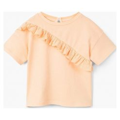 Mango Kids - Top dziecięcy Flora 80-98 cm. Szare bluzki dziewczęce bawełniane Mango Kids, z aplikacjami, z okrągłym kołnierzem. W wyprzedaży za 19,90 zł.