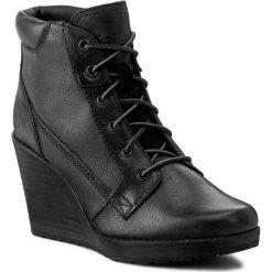 Botki TIMBERLAND - Meriden Lace Ankle B A11Z4  Black. Czarne botki damskie Timberland, z materiału, na obcasie. W wyprzedaży za 449,00 zł.