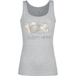Bambi Klopfer - Sleepy Head Top damski odcienie szarego. Szare topy damskie Bambi, s, z nadrukiem, z okrągłym kołnierzem. Za 74,90 zł.