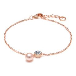 Bransoletki damskie na nogę: Pozłacana bransoletka z kryształem Swarovski i perłą