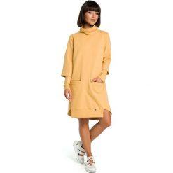 Żółta Dresowa Asymetryczna Sukienka z Golfem. Szare długie sukienki marki bonprix, melanż, z dresówki, z kapturem, z długim rękawem. Za 154,90 zł.
