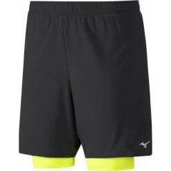 Bermudy męskie: Mizuno Spodenki Męskie Do Biegania Alpha 7.5 2In1 Short Black/Safety Yellow S