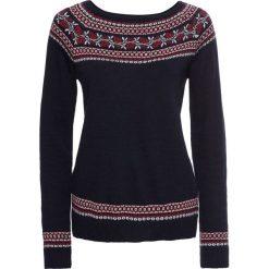 Sweter dzianinowy bonprix ciemnoniebieski wzorzysty. Niebieskie swetry klasyczne damskie marki DOMYOS, z elastanu, street, z okrągłym kołnierzem. Za 109,99 zł.