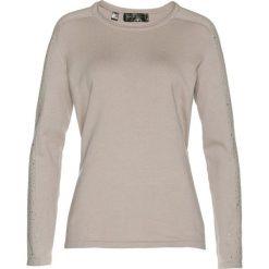 Sweter z połyskującymi kamieniami bonprix kamienisty. Szare swetry klasyczne damskie bonprix. Za 69,99 zł.