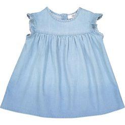 Sukienka z denimu, 1 mies. - 3 lata. Niebieskie sukienki niemowlęce La Redoute Collections, z bawełny, z krótkim rękawem, krótkie, mini. Za 88,16 zł.