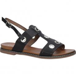 Czarne modne sandały z ozdobnymi metalowymi kółkami Casu K18X2/B. Czarne sandały damskie marki Casu. Za 39,99 zł.