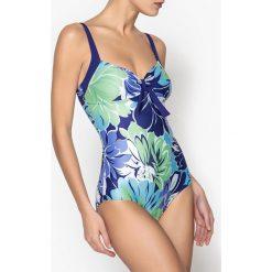 Stroje jednoczęściowe: Kostium kąpielowy jednoczęściowy, efekt płaskiego brzucha, w kwiaty