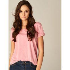 Bluzki, topy, tuniki: Bawełniana koszulka z dekoltem typu łódka - Różowy