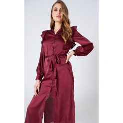 Sukienki hiszpanki: Hot & Delicious Satynowa sukienka zapinana na guziki – Red