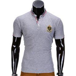 KOSZULKA MĘSKA POLO Z NADRUKIEM S849 - SZARA. Szare koszulki polo Ombre Clothing, m, z aplikacjami. Za 29,00 zł.
