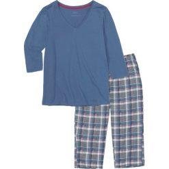 Piżamy damskie: Piżama ze spodniami 3/4 bonprix niebieski w kratę