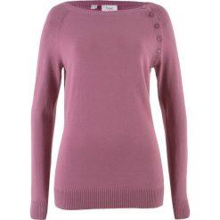 Sweter z plisą guzikową bonprix matowy jeżynowy. Fioletowe swetry klasyczne damskie bonprix, z dzianiny, z okrągłym kołnierzem. Za 74,99 zł.