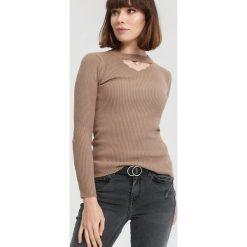 Jasnobrązowy Sweter Sit Through. Brązowe swetry klasyczne damskie other, uniwersalny. Za 39,99 zł.