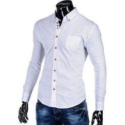 KOSZULA MĘSKA ELEGANCKA Z DŁUGIM RĘKAWEM K302 - BIAŁA. Brązowe koszule męskie na spinki marki Ombre Clothing, m, z aplikacjami, z kontrastowym kołnierzykiem, z długim rękawem. Za 59,00 zł.