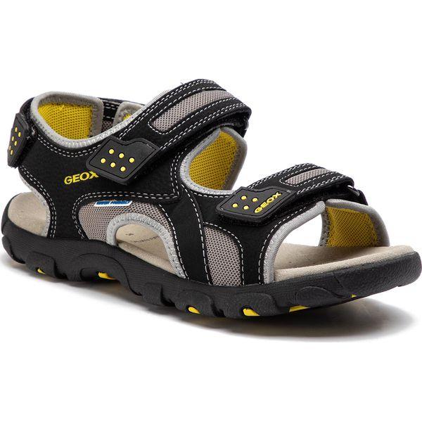 09dd7806 Sandały GEOX - J S.Strada B J9224B 014CE C0054 D Black/Yellow - Szare  sandały chłopięce Geox, ze skóry ekologicznej, bez zapięcia. Za 279,00 zł.