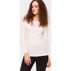 Bluzki, topy, tuniki: T-shirt z dekoltem w łódkę – Biały