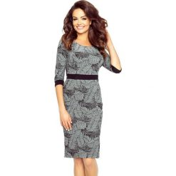 Sukienki balowe: WERONIKA – elegancka sukienka podkreślona paskiem LIŚCIE CIEMNY