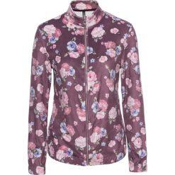 Bluzy rozpinane damskie: Bluza aksamitna bonprix matowy jeżynowy w kwiaty
