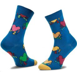 Skarpety Wysokie Unisex HAPPY SOCKS - STR05-7005 Niebieski. Czerwone skarpetki męskie marki Happy Socks, z bawełny. Za 27,90 zł.